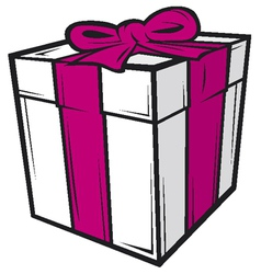 white gift box with pink ribbon vector image vector image