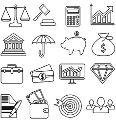 Business finance line icons set vector image