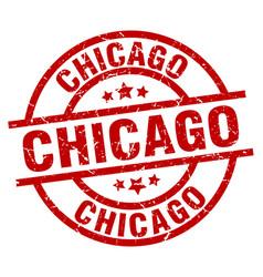 Chicago red round grunge stamp vector