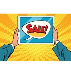 Electronic tablet in hand sale vector image