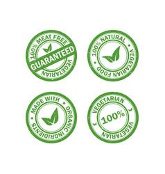 set of vegetarian food stamps vector image vector image