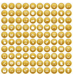 100 internet icons set gold vector image