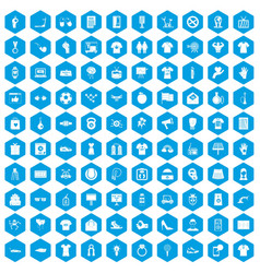 100 t-shirt icons set blue vector image
