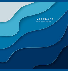 3d abstract blue background with paper cut shapes vector image
