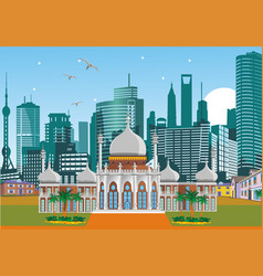 arabic palace on the background of the metropolis vector image