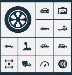 Auto icons set collection of crossover wheel vector