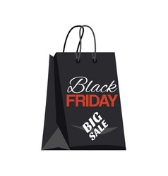 Black friday shopping bag and big sale tag vector
