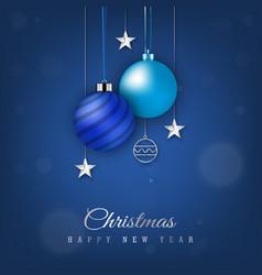 Blue christmas banner with hanging christmas ball vector