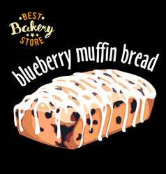 Blueberry muffin bread baked bread product vector