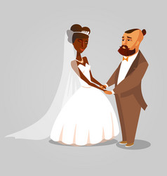 Bride and groom newlyweds cartoon vector