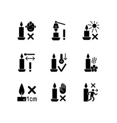 Candle safety precautions black glyph manual vector