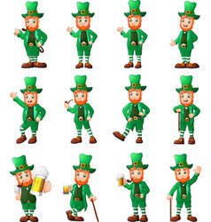cartoon leprechaun set in different poses vector image