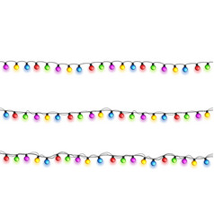 Christmas glowing lights on white background vector