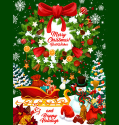 christmas holidays design with wreath and gifts vector image