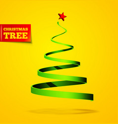 christmas tree in the form of a ribbon vector image
