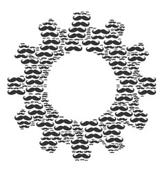 cog mosaic of gentleman moustache icons vector image
