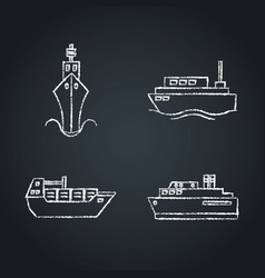 collection ship icon sketches on chalkboard vector image
