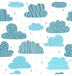 Cute hand drawn seamless pattern with clouds Funny vector image