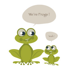 Cute two frogs isolated on white background and vector