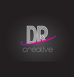 Dr d r letter logo with lines design and purple vector