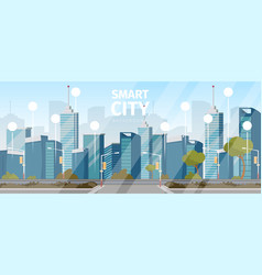 Drawing image the smart city background vector