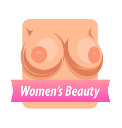 emblem of female breast with caption on pink vector image