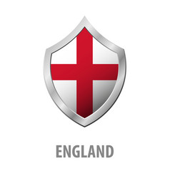 England flag on metal shiny shield vector