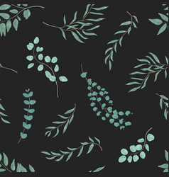 eucalyptus leaves seamless pattern exotic green vector image