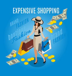 Expensive shopping rich lady composition vector