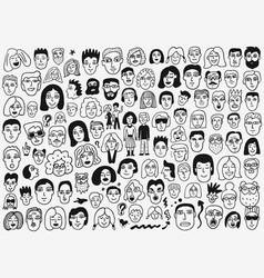 Faces doodle set vector