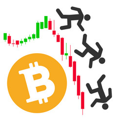 Falling bitcoin traders flat icon vector