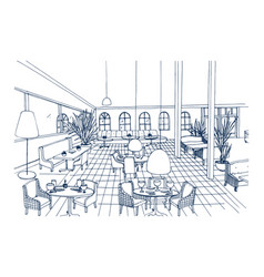 fancy restaurant or cafe interior with checkered vector image