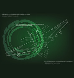 fighter on a green vector image