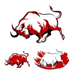 Fighting Bull Emblem Set vector image
