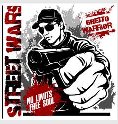 Gangster with gun ghetto warriors vector
