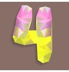 Geometric crystal digit 4 vector image
