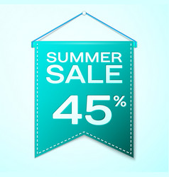 Green pennant with summer sale forty five vector