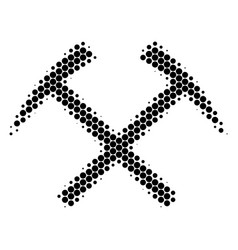 Halftone dot mining hammers icon vector