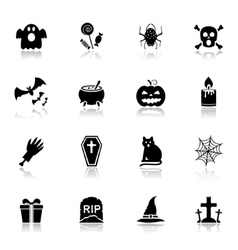 Halloween icons with reflection vector