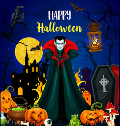 happy halloween greeting card with vampire monster vector image