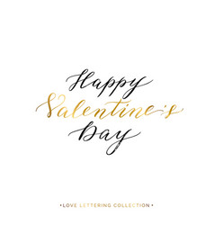 Happy valentines day gold text isolated vector