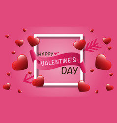 happy valentines day white frame paper banner vector image