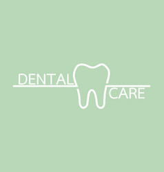 healthy tooth with word isolated on green vector image