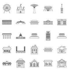 holiday area icons set outline style vector image