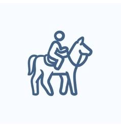 Horse riding sketch icon vector image