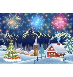 House in snowy Christmas landscape at night vector
