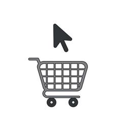 icon concept shopping cart with mouse cursor vector image