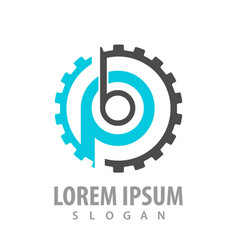 initial letter pb bp with gear logo concept vector image