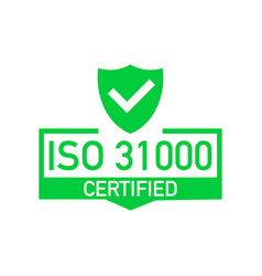 Iso 31000 certified badge icon certification vector