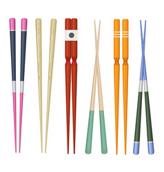 japan stick colorful traditional utensils vector image